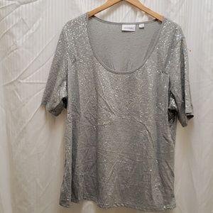 Silver grey sequin top